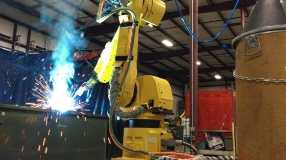 Fanuc ArcMate welding cell on track