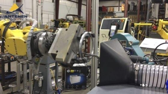 Fanuc Robotic De-burring Cell used to de-burr cast aluminum parts